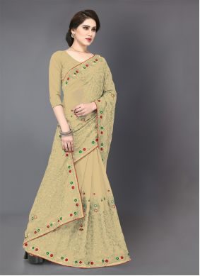 Embroidered Beige Georgette Classic Saree