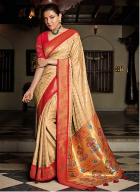 Embroidered Beige Silk Traditional Saree