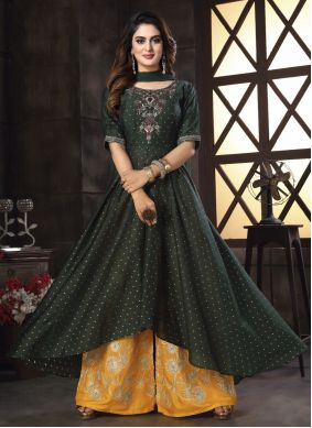 Embroidered Black Chanderi Readymade Suit
