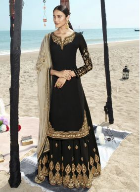 Embroidered Black Faux Georgette Salwar Suit
