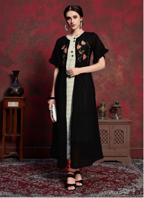 Embroidered Black Rayon Party Wear Kurti