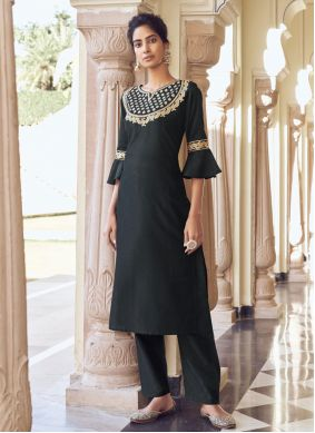 Embroidered Black Viscose Designer Kurti