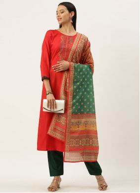 Embroidered Blended Cotton Red Designer Straight Suit