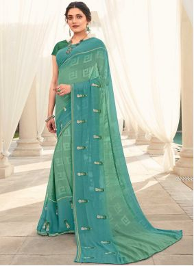 Embroidered Blue and Sea Green Shaded Saree