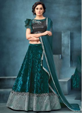 Embroidered Blue and Teal Velvet Designer A Line Lehenga Choli