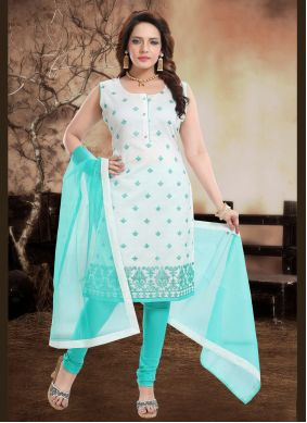 Embroidered Blue Chanderi Readymade Suit