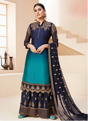 Embroidered Blue Designer Pakistani Salwar Suit