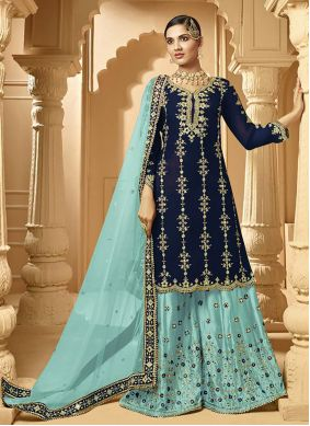 Embroidered Blue Faux Georgette Designer Palazzo Suit
