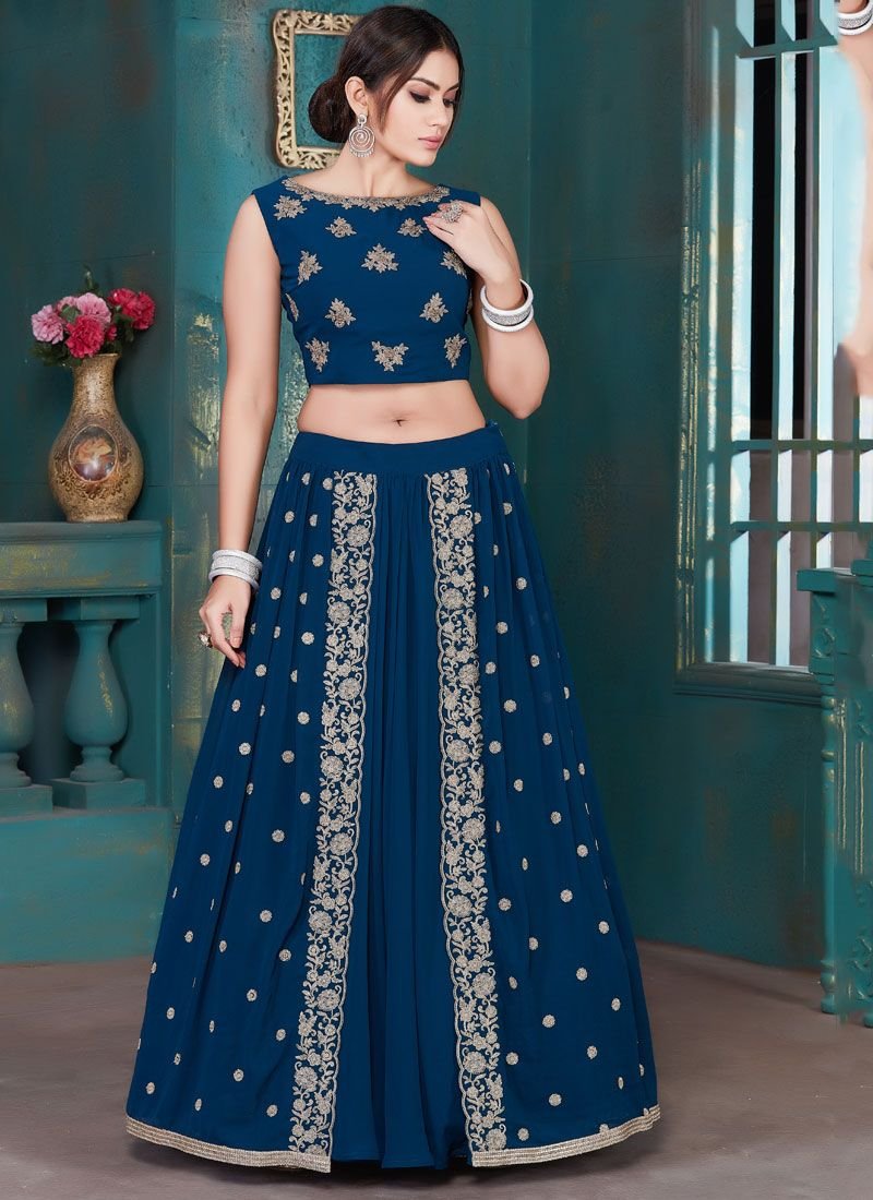 Embroidered Blue Georgette Lehenga Choli