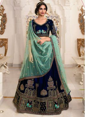Embroidered Blue Lehenga Choli