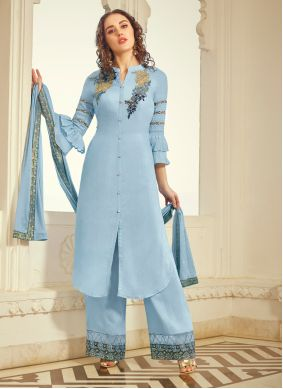 Embroidered Blue Muslin Trendy Palazzo Salwar Kameez