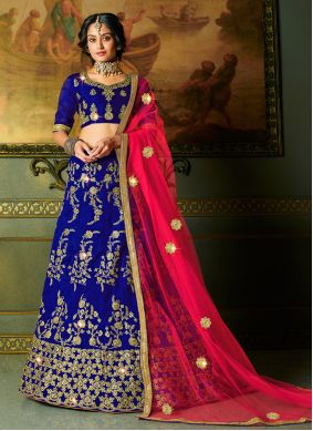 Embroidered Blue Trendy Lehenga Choli