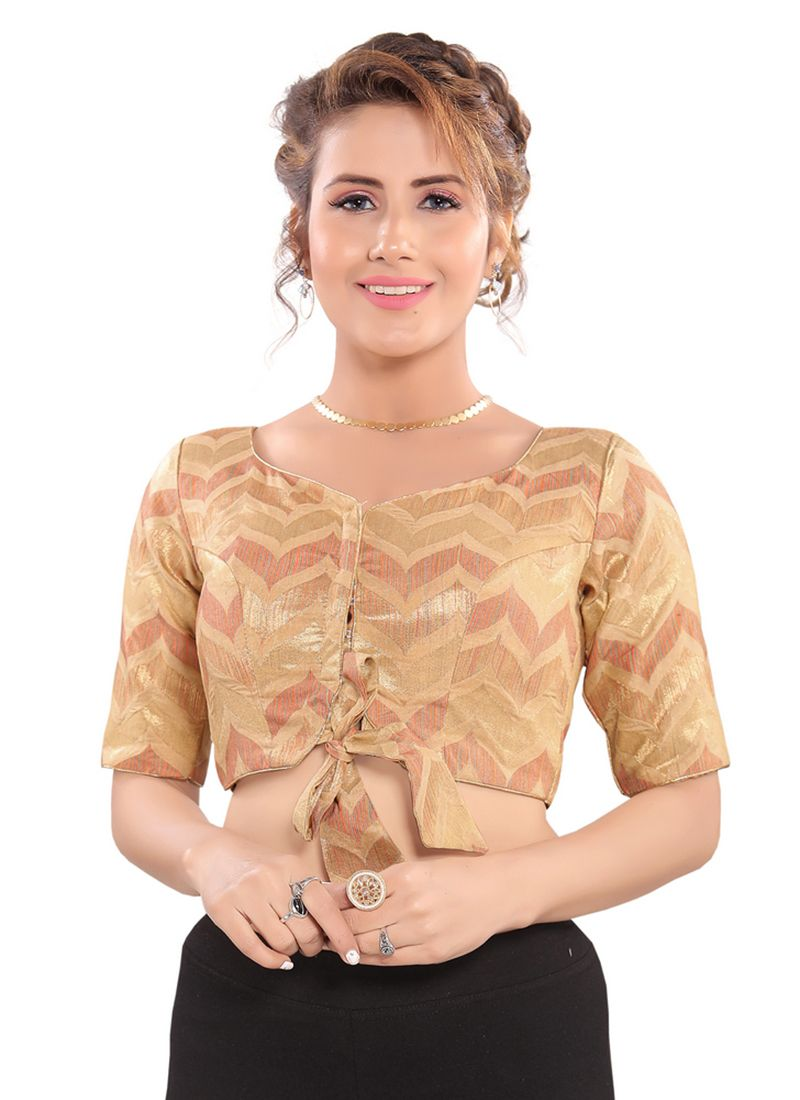 Embroidered Brocade Blouse in Gold