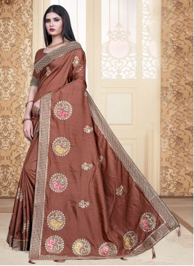 Embroidered Brown Classic Saree