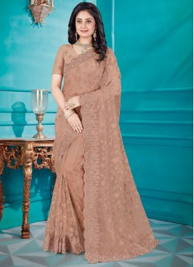 Embroidered Brown Net Classic Saree