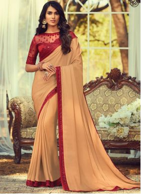 Embroidered Brown Trendy Saree