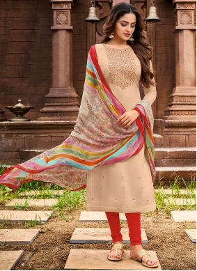 Beige Embroidered Casual Salwar Suit