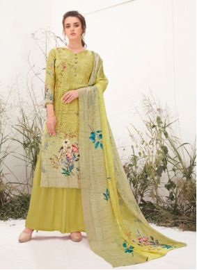 Embroidered Ceremonial Green Designer Palazzo Suit