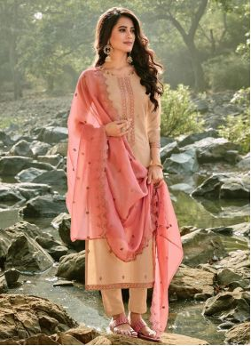 Embroidered Chanderi Brown Trendy Suit