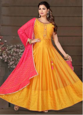 Embroidered Chanderi Orange Readymade Suit