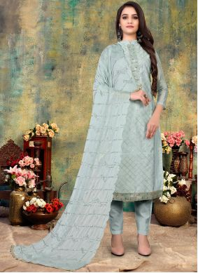 Embroidered Chanderi Pant Style Suit in Blue