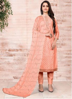 Embroidered Chanderi Peach Pant Style Suit