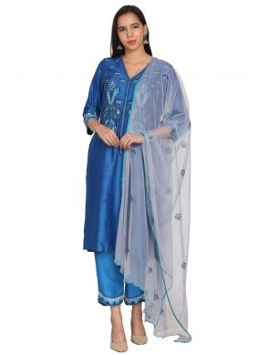 Embroidered Chanderi Readymade Suit in Blue
