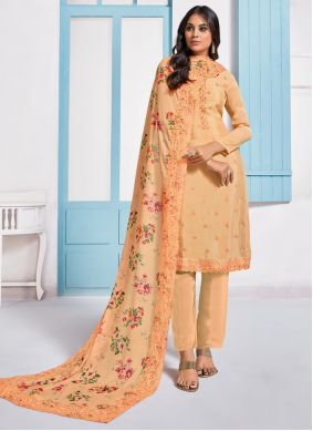 Embroidered Chinon Designer Pakistani Salwar Suit in Peach