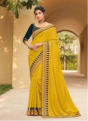 Yellow Embroidered Classic Saree