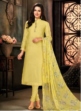 Embroidered Cotton Designer Suit in Yellow