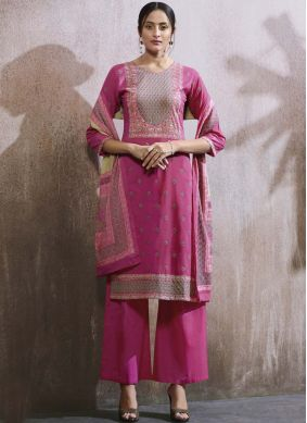 Embroidered Cotton Lawn Designer Palazzo Suit in Hot Pink