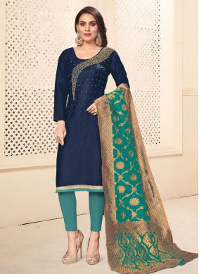 Embroidered Cotton Pant Style Suit in Navy Blue