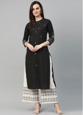 Embroidered Cotton Salwar Kameez in Black