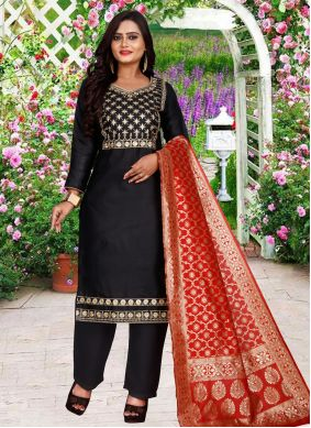 Embroidered Cotton Salwar Suit in Black