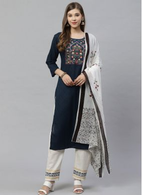 Embroidered Cotton Salwar Suit in Navy Blue