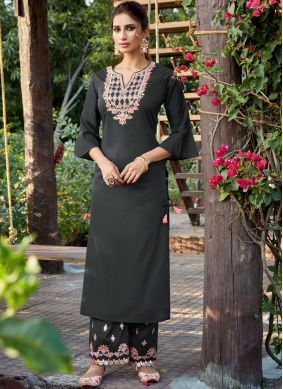 Embroidered Cotton Silk Designer Pakistani Suit in Grey