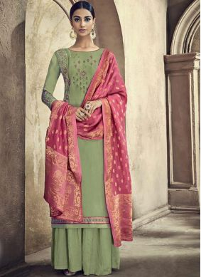 Embroidered Cotton Silk Designer Palazzo Suit in Green