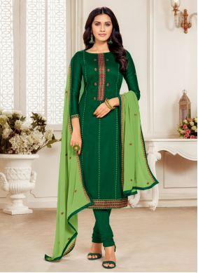 Embroidered Cotton Silk Green Churidar Suit