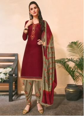 Embroidered Cotton Silk Maroon Designer Salwar Kameez