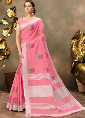 Embroidered Cotton Trendy Saree in Pink