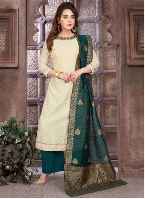 Embroidered Cream and Green Readymade Suit