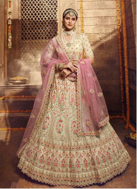 Embroidered Cream Bollywood Lehenga Choli