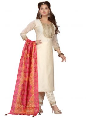 Embroidered Cream Chanderi Readymade Suit