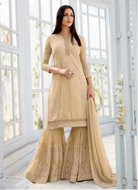Embroidered Cream Faux Georgette Designer Palazzo Salwar Suit