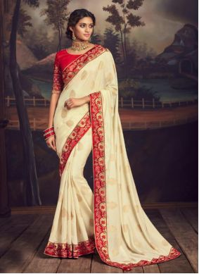 Embroidered Cream Silk Traditional Saree