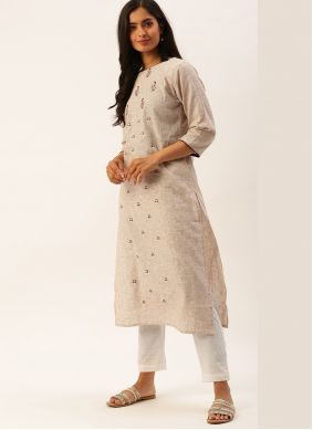 Embroidered Cream Viscose Casual Kurti
