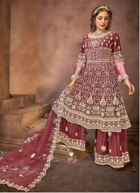 Wine Embroidered Designer Pakistani Suit