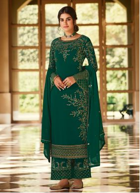 Green Embroidered Pakistani Suit