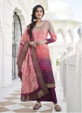 Salmon Pink Embroidered Designer Palazzo Suit