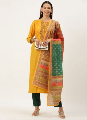 Yellow Embroidered Designer Straight Suit
